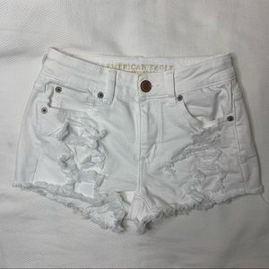 American Eagle White Super Stretch Denim Shorts